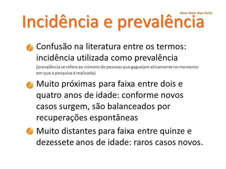 Incidência e prevalência Confusão na literatura entre os termos: incidência utilizada como prevalência (prevalência se refere ao número de pessoas que