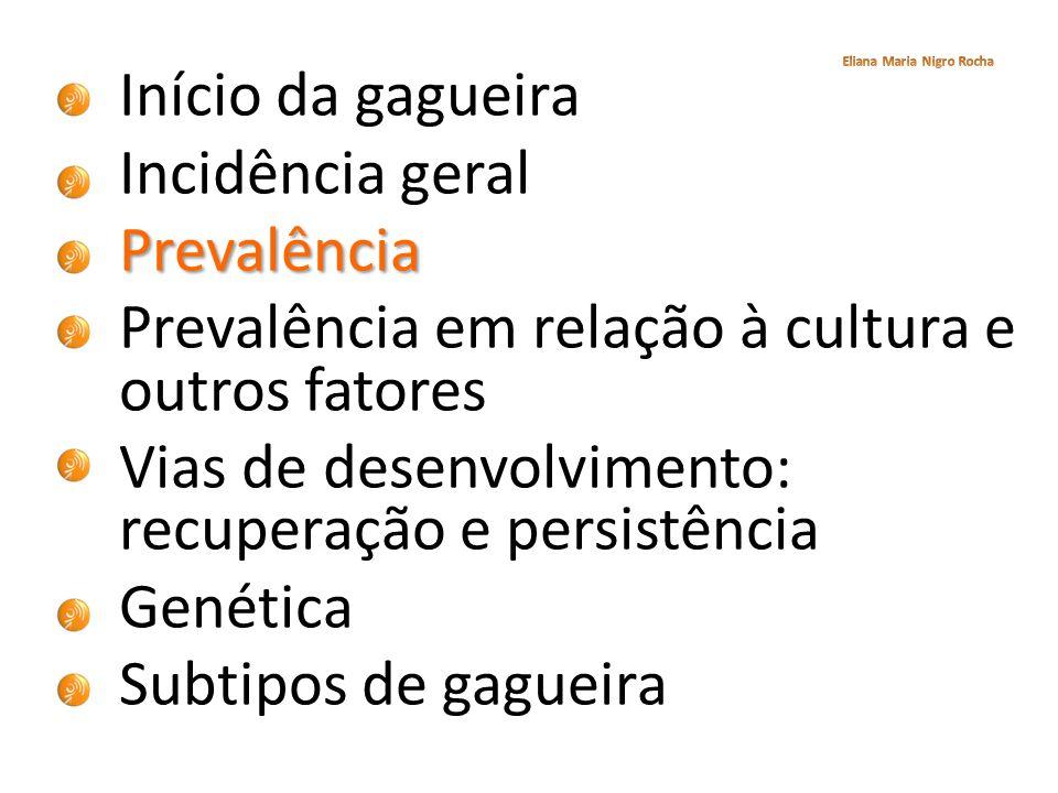 Início da gagueira Incidência geralPrevalência Prevalência em relação à cultura e outros fatores Vias de desenvolvimento: recuperação e persistência G