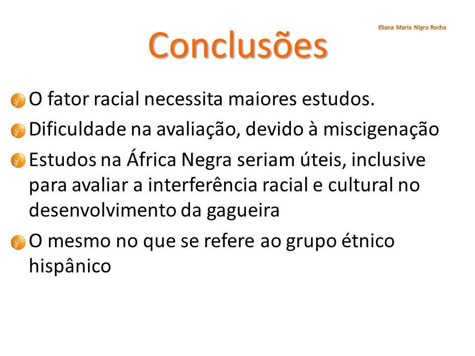 Conclusões O fator racial necessita maiores estudos. Dificuldade na avaliação, devido à miscigenação Estudos na África Negra seriam úteis, inclusive p