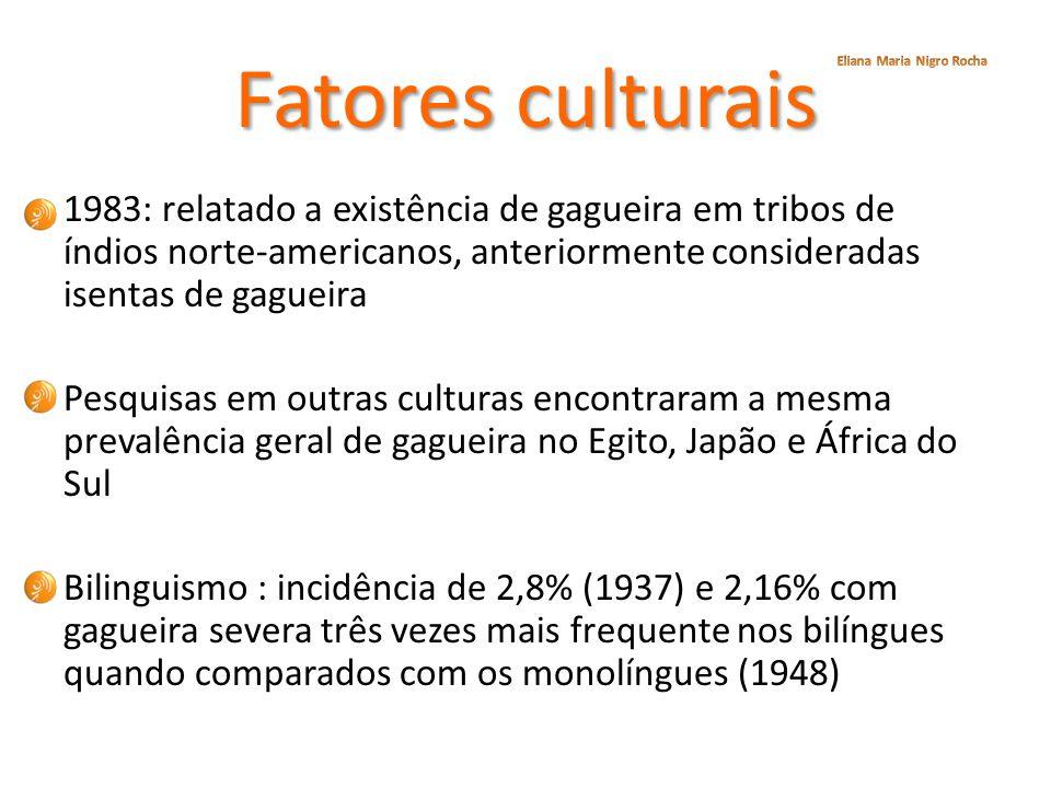 Fatores culturais 1983: relatado a existência de gagueira em tribos de índios norte-americanos, anteriormente consideradas isentas de gagueira Pesquis