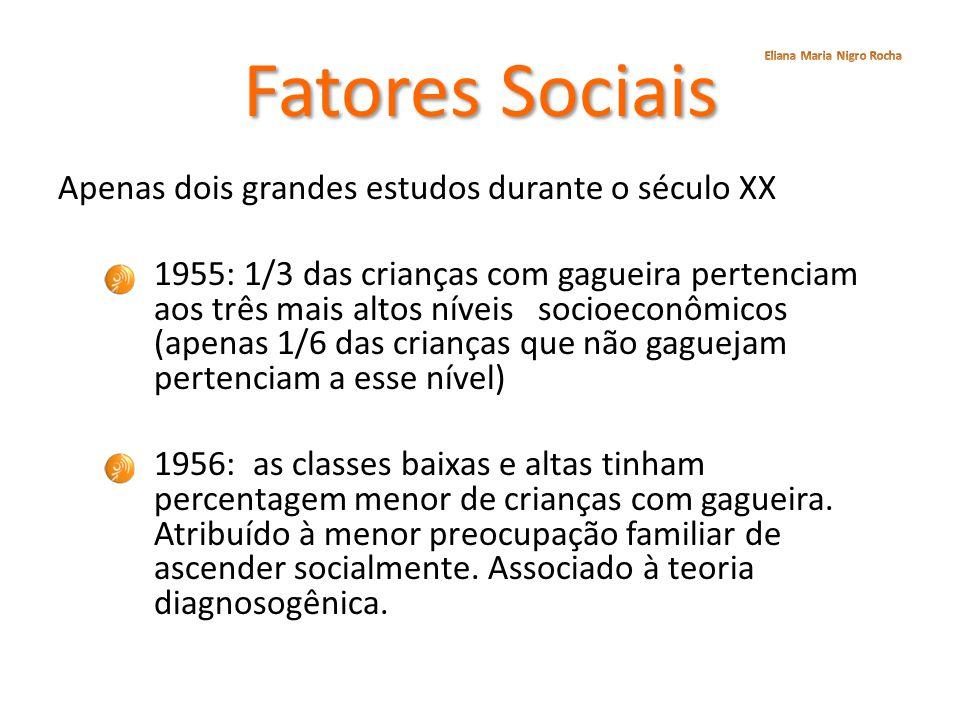 Fatores Sociais Apenas dois grandes estudos durante o século XX 1955: 1/3 das crianças com gagueira pertenciam aos três mais altos níveis socioeconômi