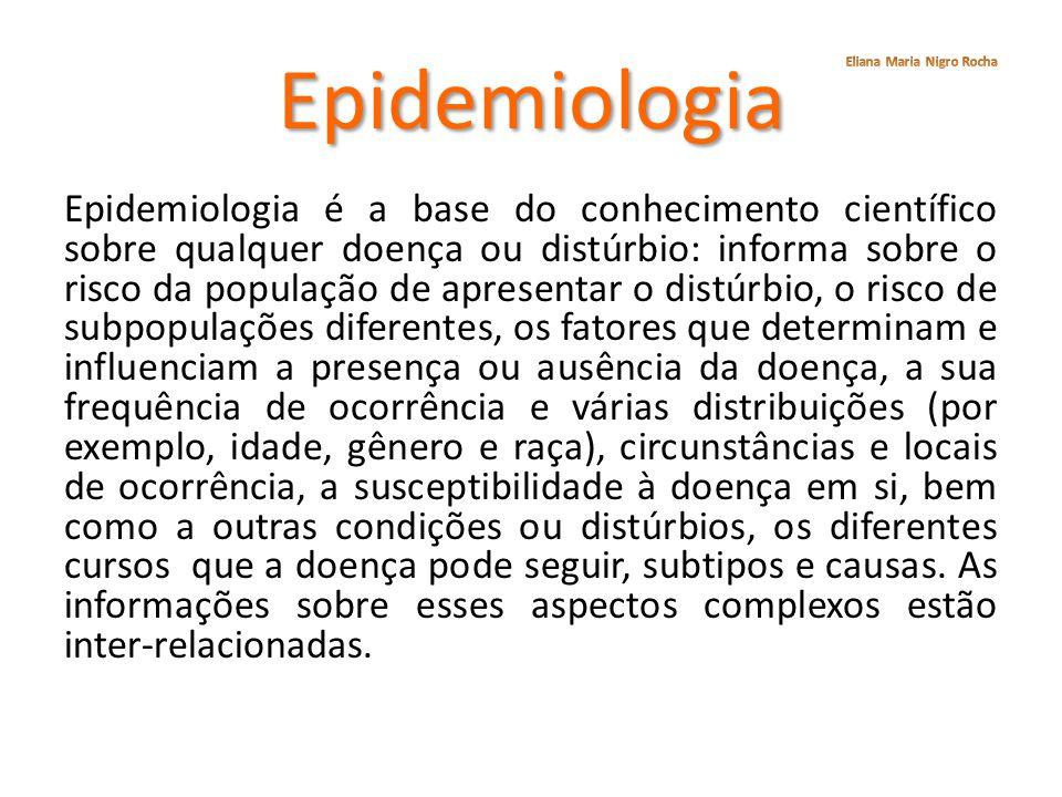 Epidemiologia Epidemiologia é a base do conhecimento científico sobre qualquer doença ou distúrbio: informa sobre o risco da população de apresentar o