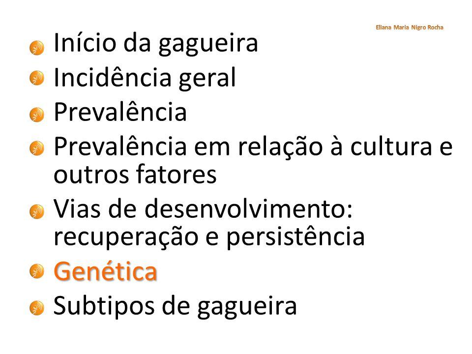 Início da gagueira Incidência geral Prevalência Prevalência em relação à cultura e outros fatores Vias de desenvolvimento: recuperação e persistênciaG