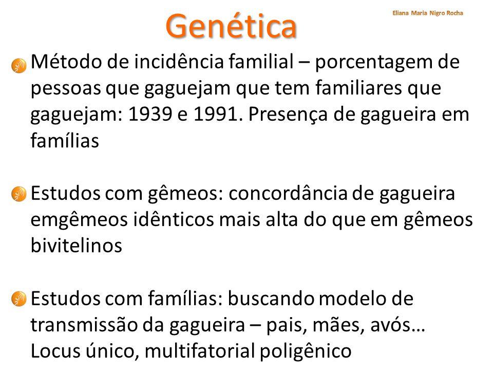 Genética Método de incidência familial – porcentagem de pessoas que gaguejam que tem familiares que gaguejam: 1939 e 1991. Presença de gagueira em fam