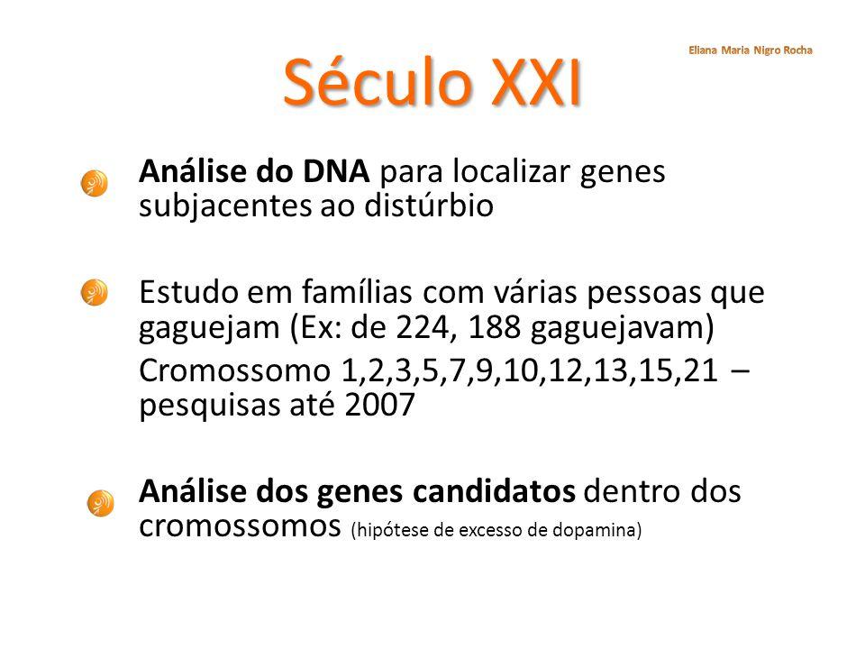 Século XXI Análise do DNA para localizar genes subjacentes ao distúrbio Estudo em famílias com várias pessoas que gaguejam (Ex: de 224, 188 gaguejavam
