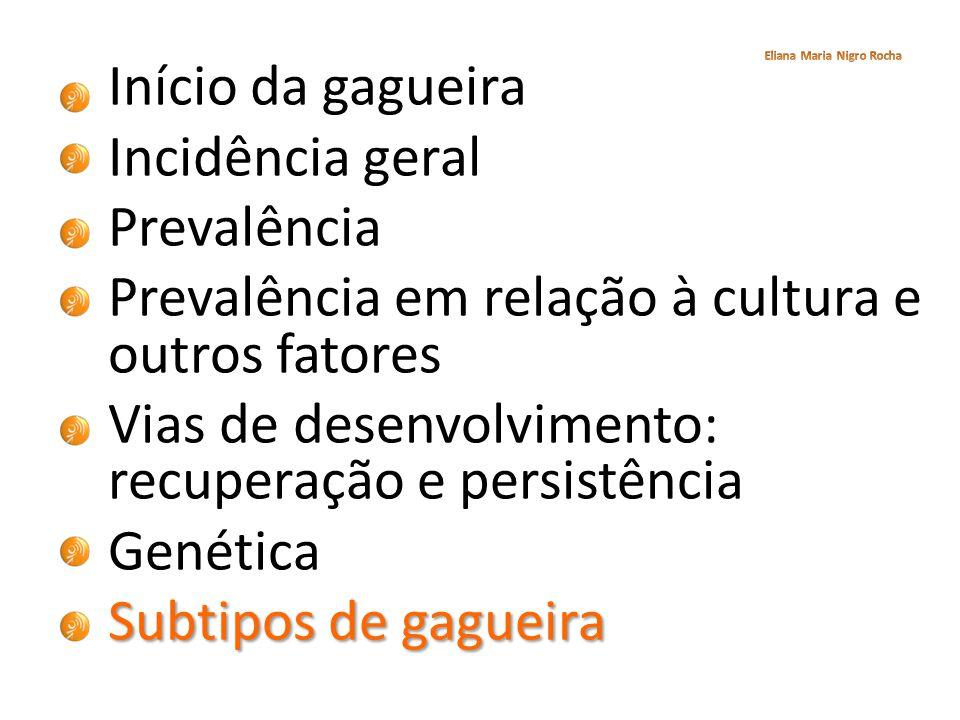 Início da gagueira Incidência geral Prevalência Prevalência em relação à cultura e outros fatores Vias de desenvolvimento: recuperação e persistência