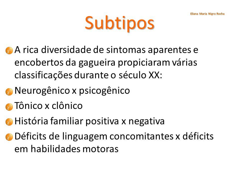 Subtipos A rica diversidade de sintomas aparentes e encobertos da gagueira propiciaram várias classificações durante o século XX: Neurogênico x psicog