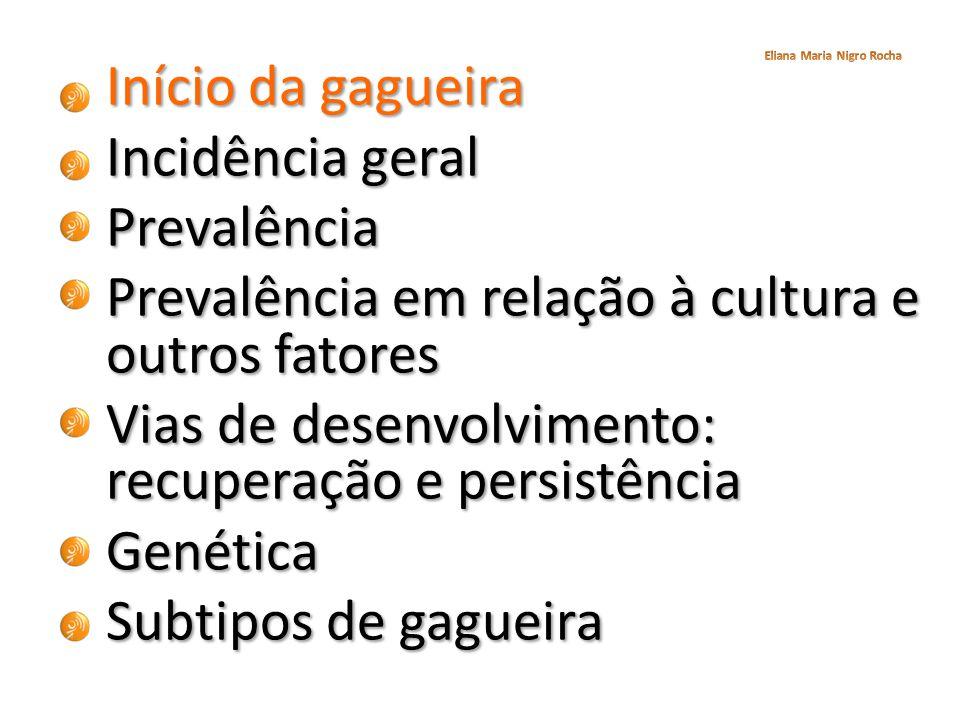 Início da gagueira Incidência geral Prevalência Prevalência em relação à cultura e outros fatores Vias de desenvolvimento: recuperação e persistência Genética Subtipos de gagueira