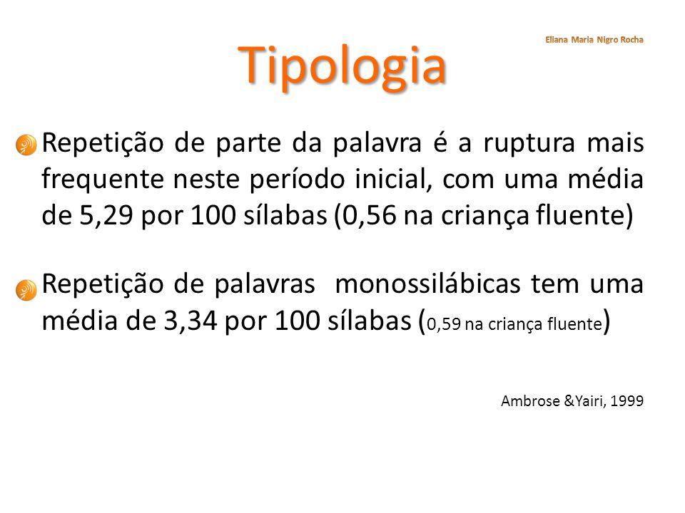 Tipologia Repetição de parte da palavra é a ruptura mais frequente neste período inicial, com uma média de 5,29 por 100 sílabas (0,56 na criança fluen