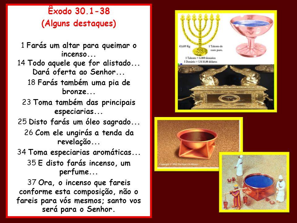 Êxodo 30.1-38 (Alguns destaques) 1 Farás um altar para queimar o incenso... 14 Todo aquele que for alistado... Dará oferta ao Senhor... 18 Farás també