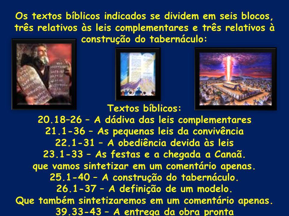 Os textos bíblicos indicados se dividem em seis blocos, três relativos às leis complementares e três relativos à construção do tabernáculo: Textos bíblicos: 20.18–26 – A dádiva das leis complementares 21.1-36 – As pequenas leis da convivência 22.1-31 – A obediência devida às leis 23.1-33 – As festas e a chegada a Canaã.