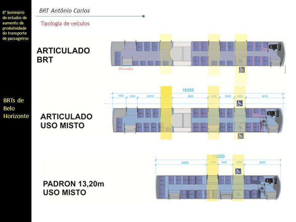 8° Seminário de estudos de aumento de produtividade do transporte de passageiros BRTs de Belo Horizonte BRT Antônio Carlos Frota do sistema SistemaTipo de linha ArticuladoPadron 13Convenc.Total Municipal Troncos 13753190 Alimentadoras 249 Remanescentes 90 Radiais 65 Sub-total 137143314594 Metropolitano Troncos 15652208 Alimentadoras 425 Sub-total 15652425633 ConjuntoTotal 2931957391.227