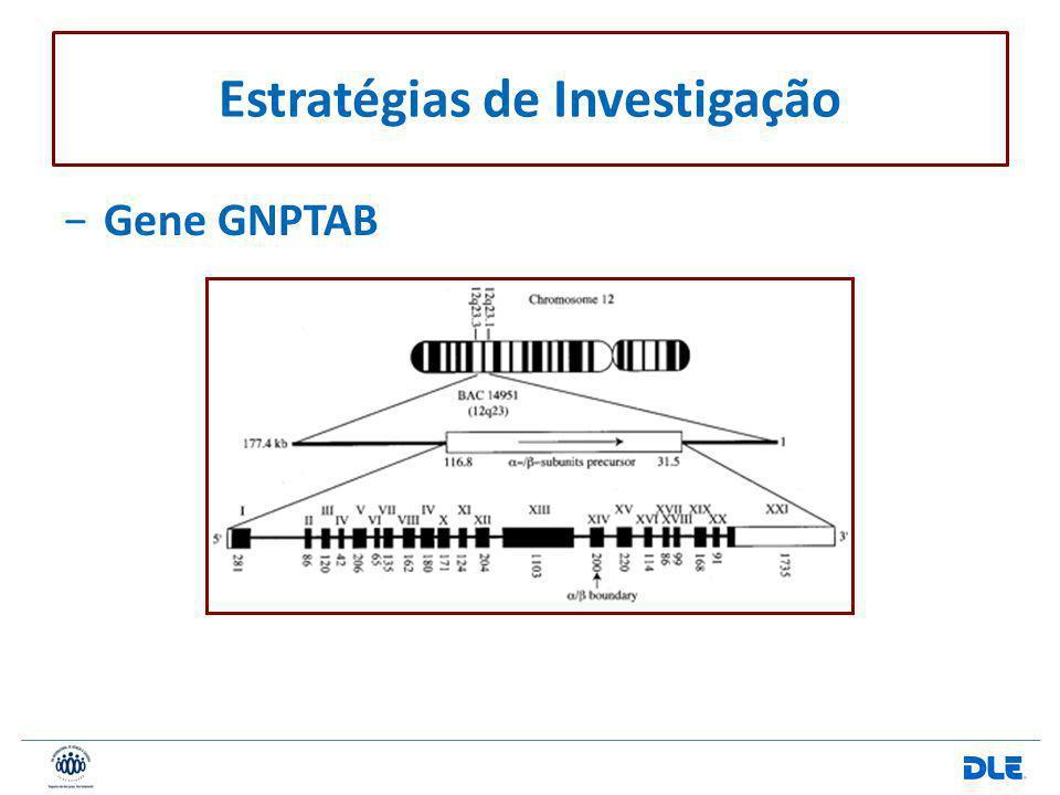 Gene GNPTAB Estratégias de Investigação