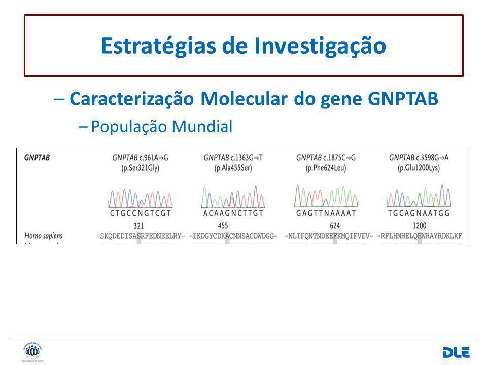 –Caracterização Molecular do gene GNPTAB –População Mundial Estratégias de Investigação