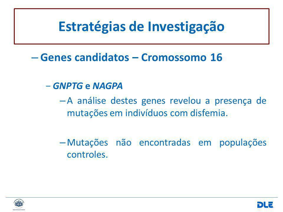 – Genes candidatos – Cromossomo 16 GNPTG e NAGPA – A análise destes genes revelou a presença de mutações em indivíduos com disfemia. – Mutações não en