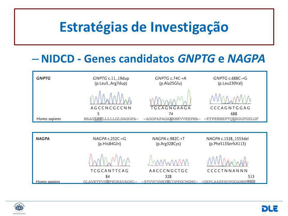 – NIDCD - Genes candidatos GNPTG e NAGPA Estratégias de Investigação