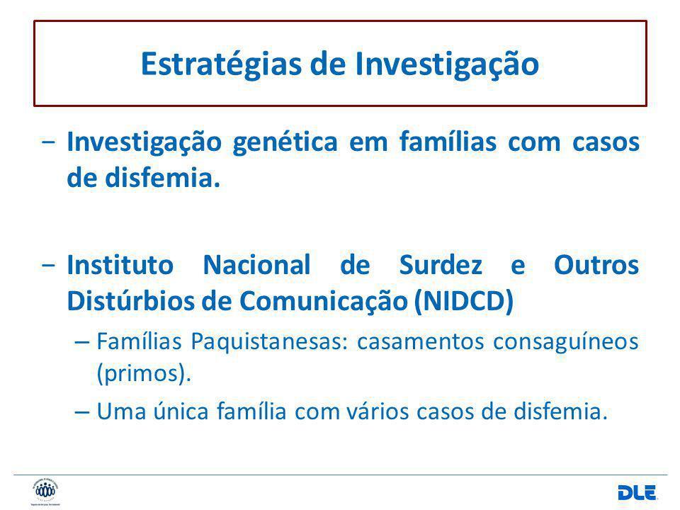 Investigação genética em famílias com casos de disfemia. Instituto Nacional de Surdez e Outros Distúrbios de Comunicação (NIDCD) – Famílias Paquistane
