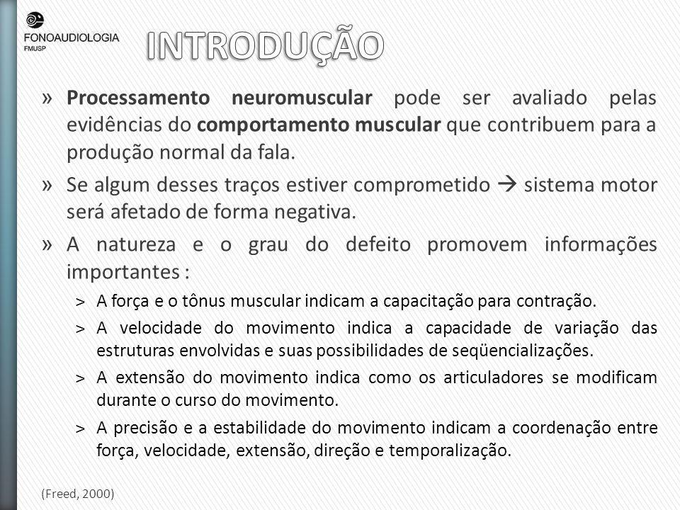 » Processamento neuromuscular pode ser avaliado pelas evidências do comportamento muscular que contribuem para a produção normal da fala. » Se algum d