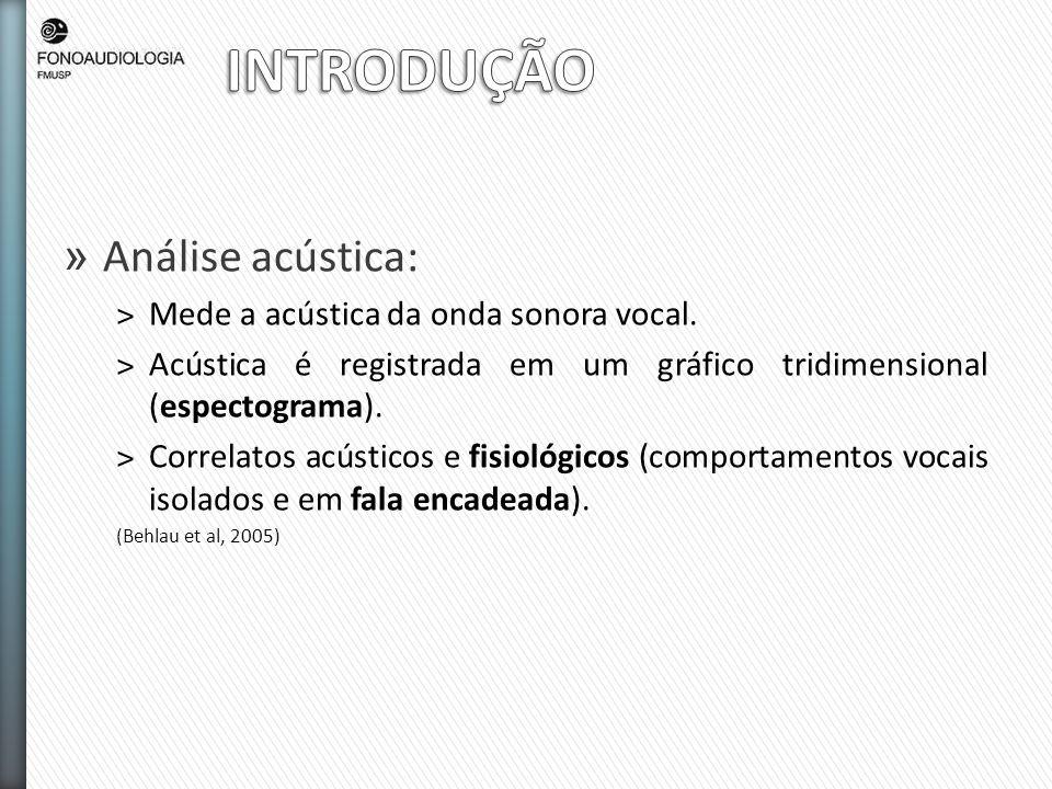 » Análise acústica: ˃Mede a acústica da onda sonora vocal. ˃Acústica é registrada em um gráfico tridimensional (espectograma). ˃Correlatos acústicos e