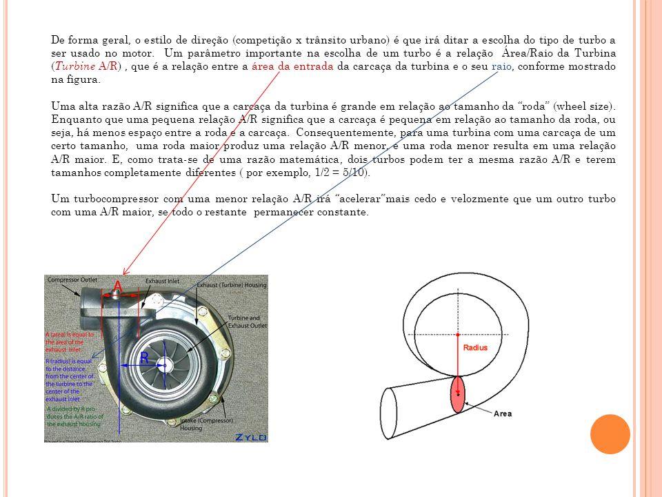 Quanto menor a relação A/R da turbina, mais rapidamente os gases de exaustão escoarão através dela.