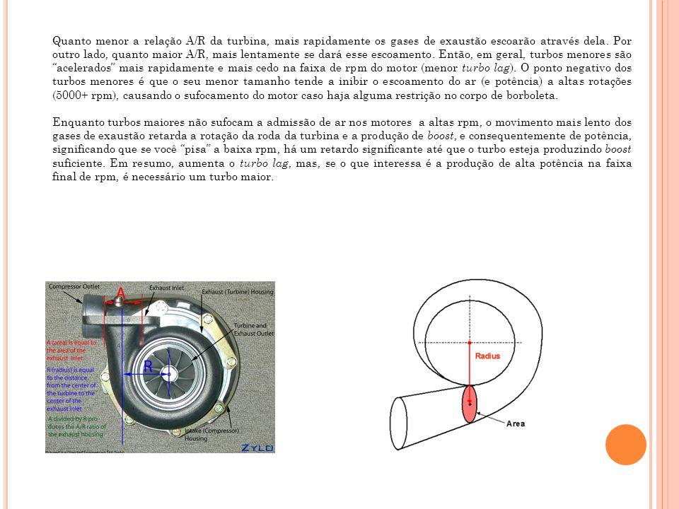 Quanto menor a relação A/R da turbina, mais rapidamente os gases de exaustão escoarão através dela. Por outro lado, quanto maior A/R, mais lentamente