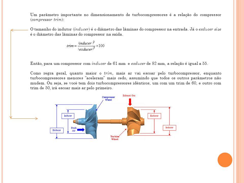 Um parâmetro importante no dimensionamento de turbocompressores é a relação do compressor ( compressor trim ): O tamanho do indutor ( inducer ) é o di