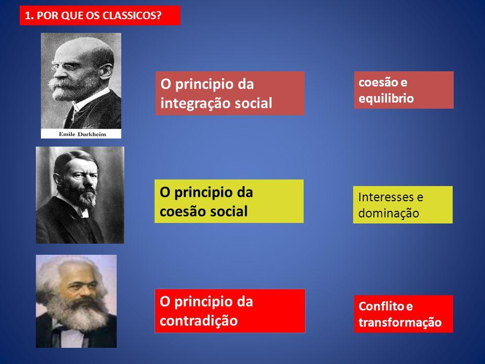 O principio da integração social O principio da coesão social O principio da contradição coesão e equilibrio Interesses e dominação Conflito e transfo