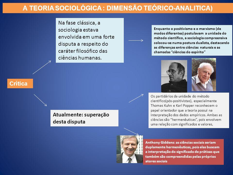 Crítica Na fase clássica, a sociologia estava envolvida em uma forte disputa a respeito do caráter filosófico das ciências humanas. Enquanto o positiv