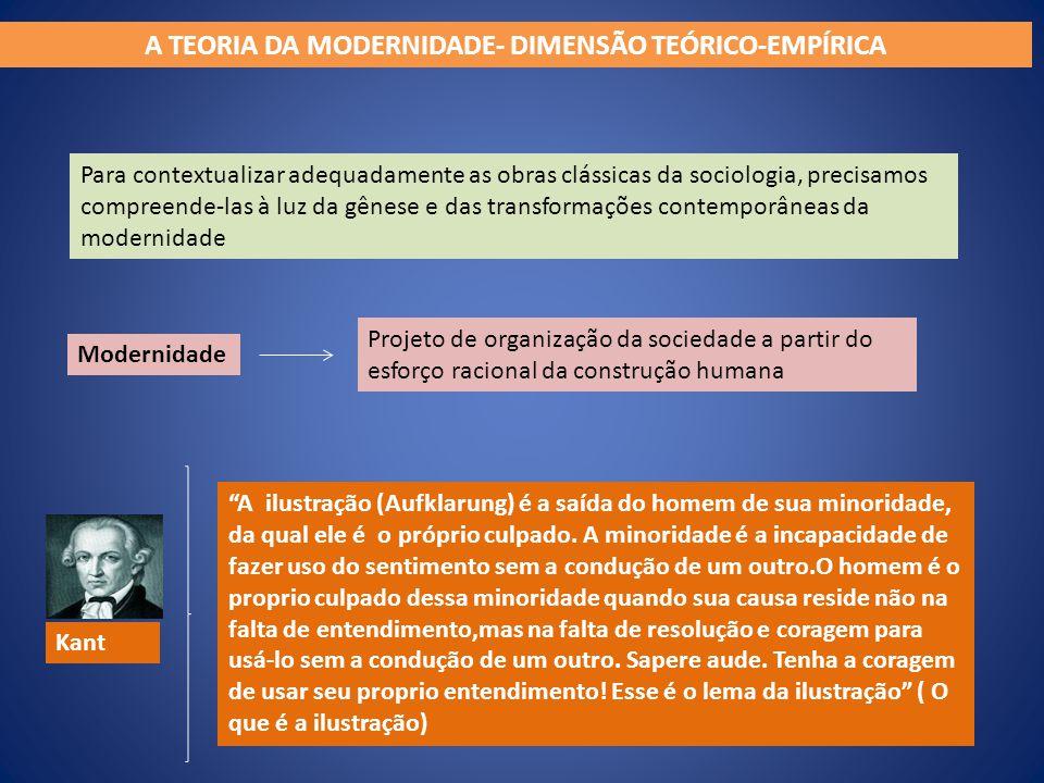 A TEORIA DA MODERNIDADE- DIMENSÃO TEÓRICO-EMPÍRICA Para contextualizar adequadamente as obras clássicas da sociologia, precisamos compreende-las à luz