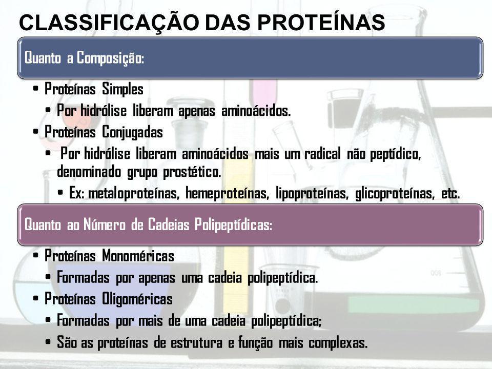 Quanto a Composição: Proteínas Simples Por hidrólise liberam apenas aminoácidos. Proteínas Conjugadas Por hidrólise liberam aminoácidos mais um radica