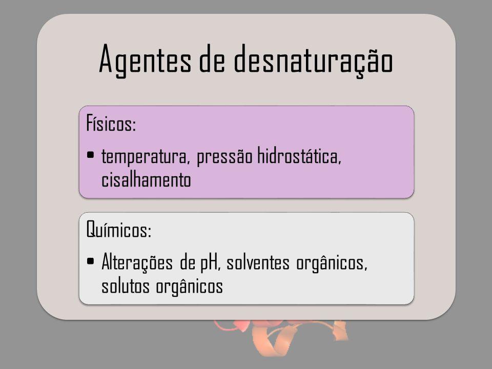 Agentes de desnaturação Físicos: temperatura, pressão hidrostática, cisalhamento Químicos: Alterações de pH, solventes orgânicos, solutos orgânicos