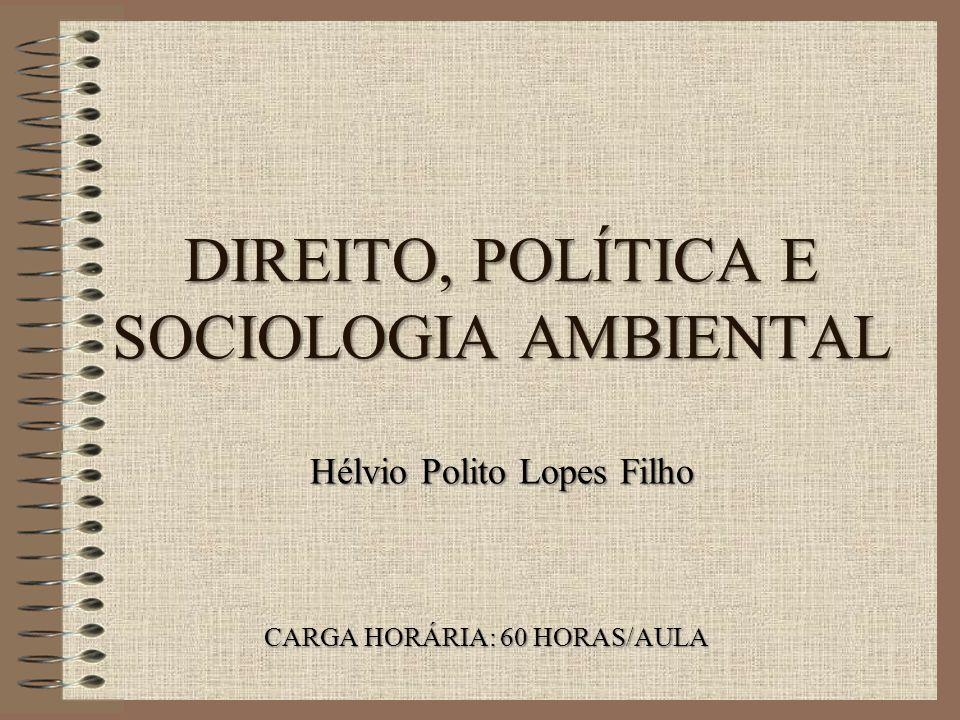 DIREITO, POLÍTICA E SOCIOLOGIA AMBIENTAL CARGA HORÁRIA: 60 HORAS/AULA Hélvio Polito Lopes Filho