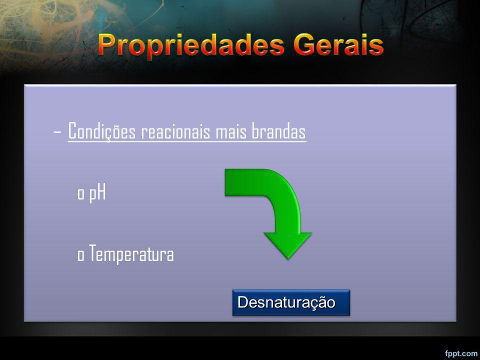 –Condições reacionais mais brandas opH oTemperatura –Condições reacionais mais brandas opH oTemperatura DesnaturaçãoDesnaturação