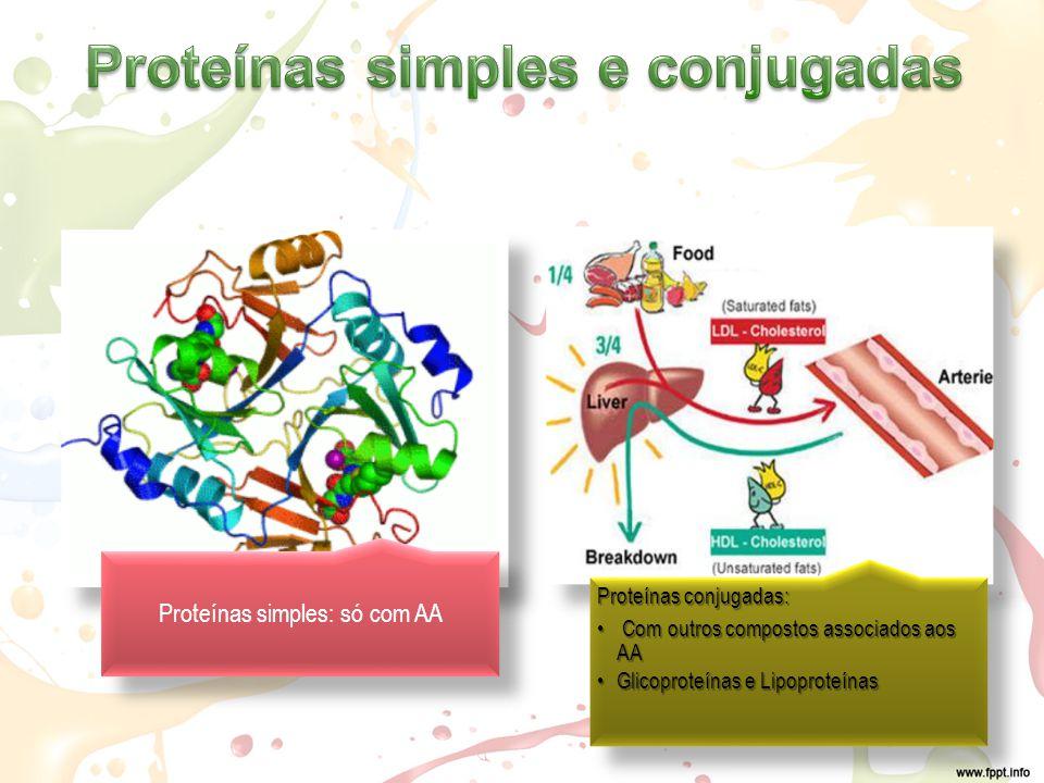 Proteínas simples: só com AA Proteínas conjugadas: Com outros compostos associados aos AA Com outros compostos associados aos AA Glicoproteínas e LipoproteínasGlicoproteínas e Lipoproteínas