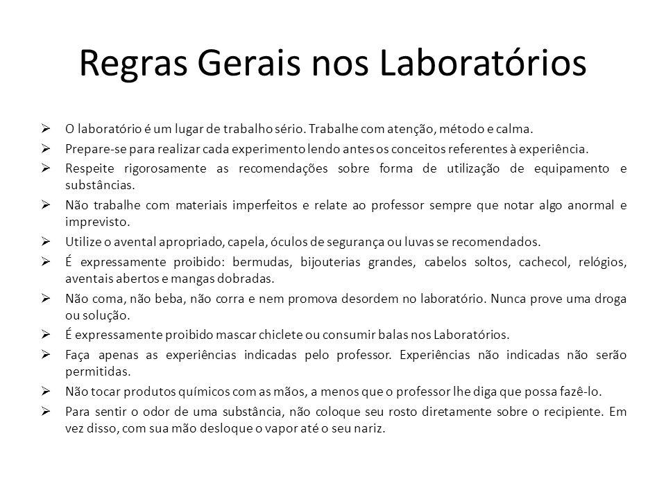 Regras Gerais nos Laboratórios O laboratório é um lugar de trabalho sério. Trabalhe com atenção, método e calma. Prepare-se para realizar cada experim