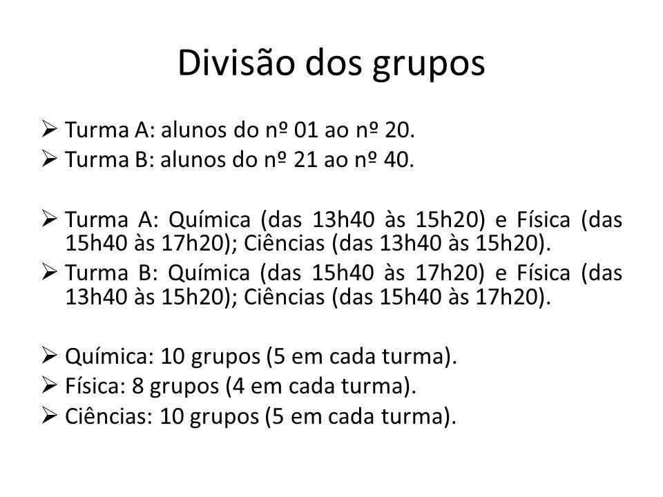 Divisão dos grupos Turma A: alunos do nº 01 ao nº 20. Turma B: alunos do nº 21 ao nº 40. Turma A: Química (das 13h40 às 15h20) e Física (das 15h40 às