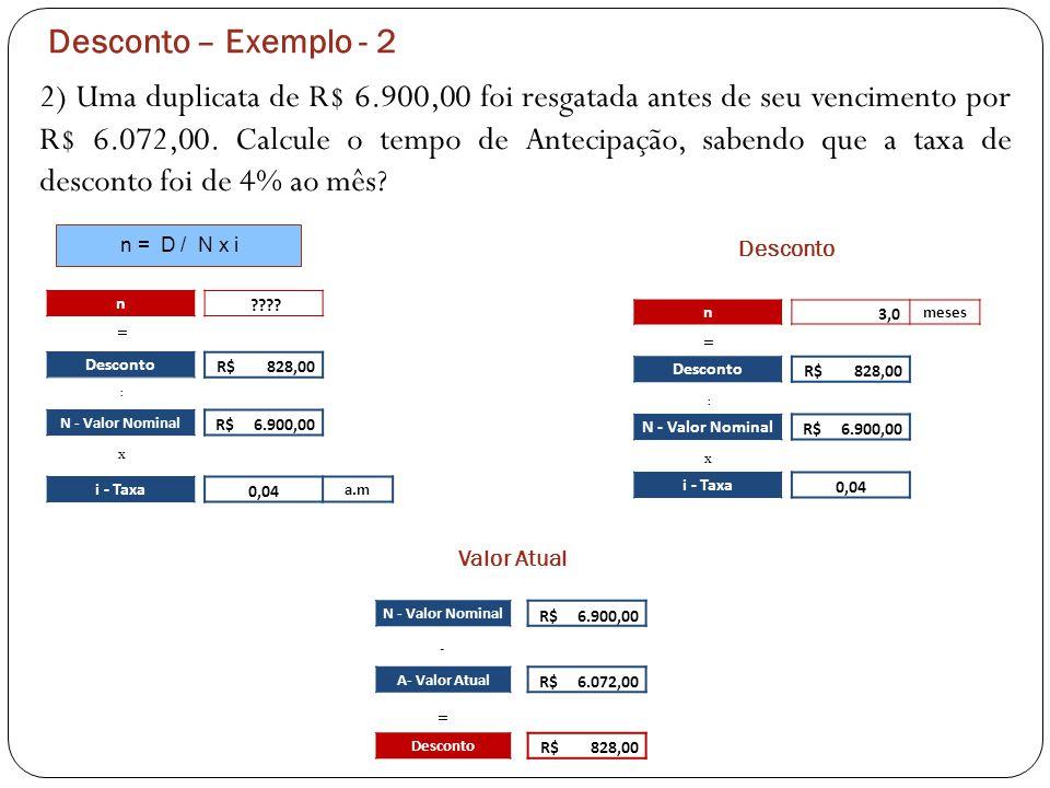 Desconto – Exemplo - 2 2) Uma duplicata de R$ 6.900,00 foi resgatada antes de seu vencimento por R$ 6.072,00. Calcule o tempo de Antecipação, sabendo