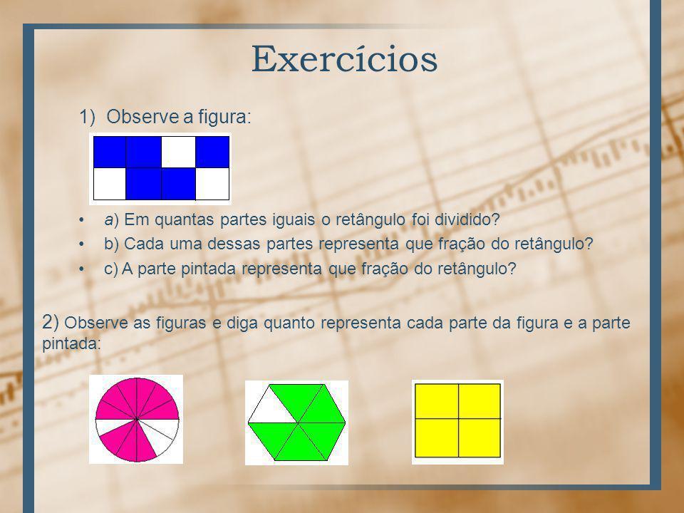 Exercícios 1) Observe a figura: a) Em quantas partes iguais o retângulo foi dividido.