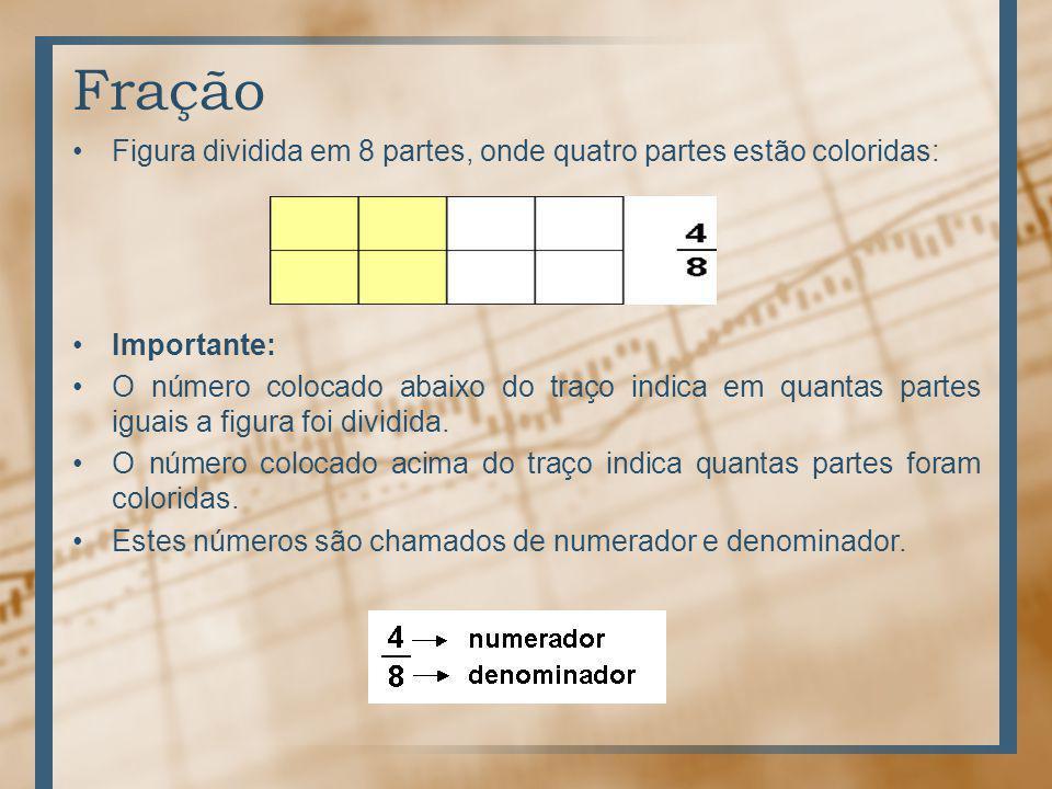 Fração Figura dividida em 8 partes, onde quatro partes estão coloridas: Importante: O número colocado abaixo do traço indica em quantas partes iguais a figura foi dividida.