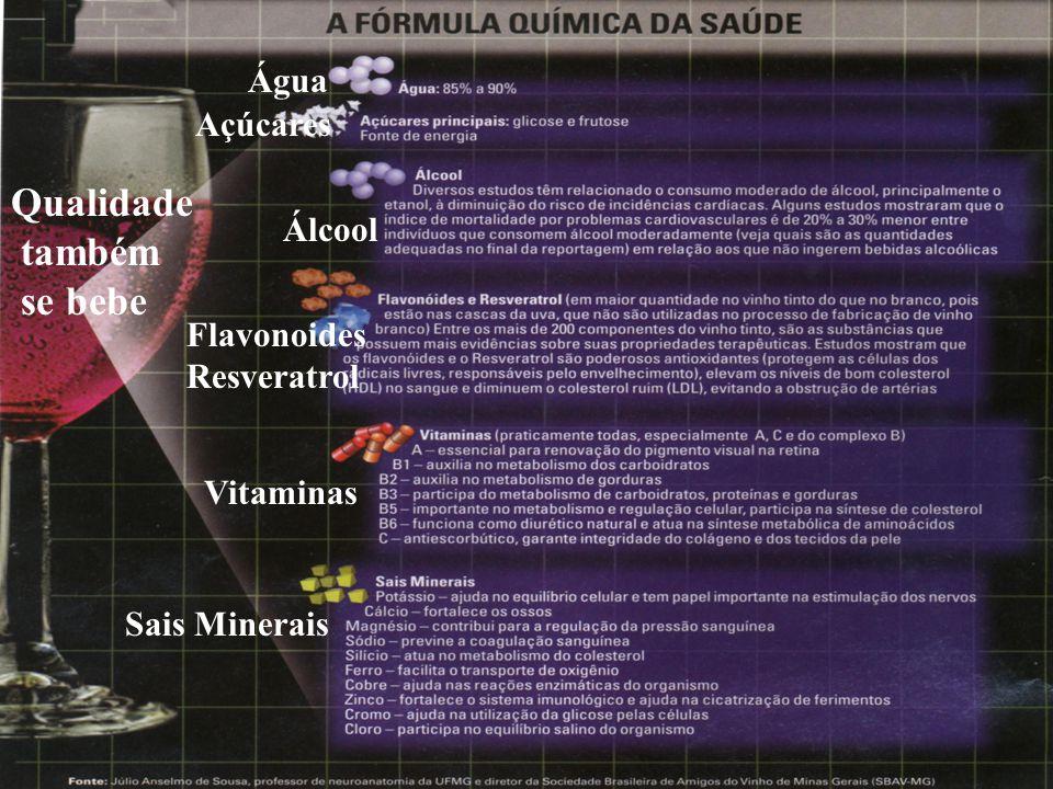 Qualidade também se bebe Água Álcool Açúcares Flavonoides Resveratrol Vitaminas Sais Minerais