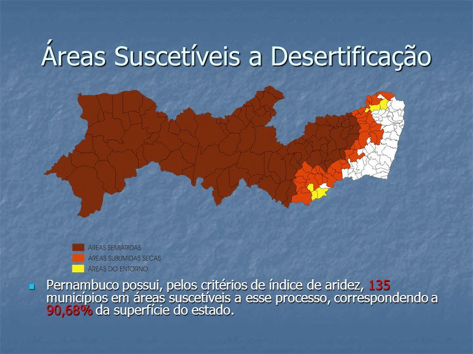 Áreas Suscetíveis a Desertificação Pernambuco possui, pelos critérios de índice de aridez, 135 municípios em áreas suscetíveis a esse processo, correspondendo a 90,68% da superfície do estado.