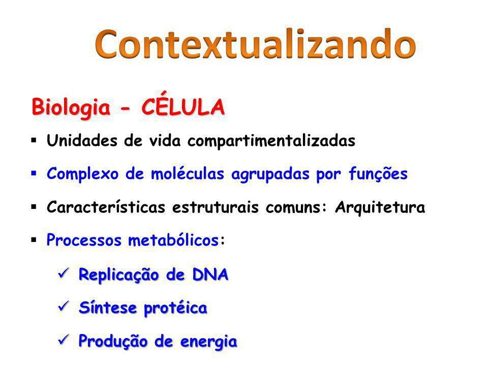 Biologia - CÉLULA Unidades de vida compartimentalizadas Complexo de moléculas agrupadas por funções Características estruturais comuns: Arquitetura Pr