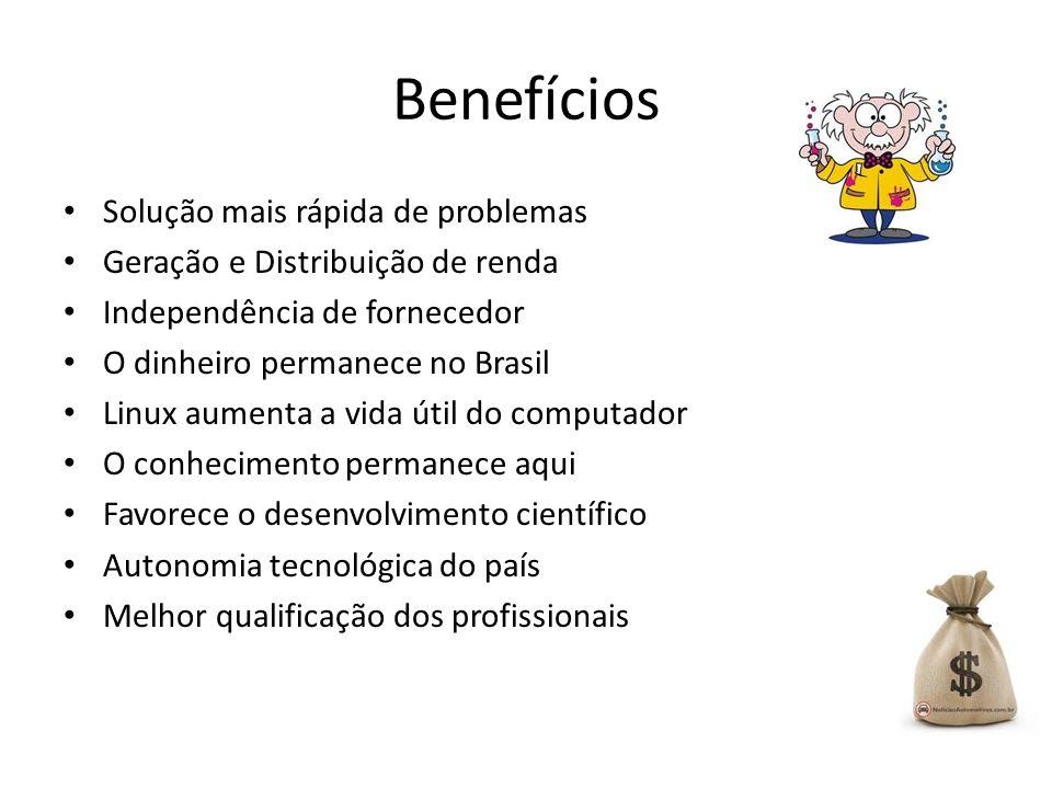 Benefícios Solução mais rápida de problemas Geração e Distribuição de renda Independência de fornecedor O dinheiro permanece no Brasil Linux aumenta a