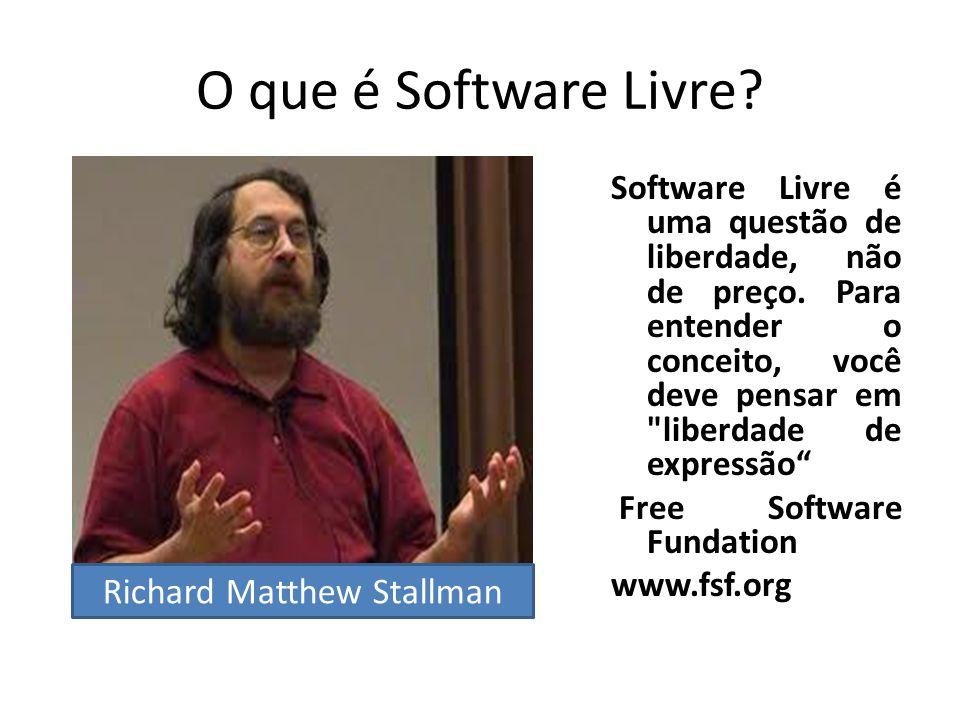 O que é Software Livre? Software Livre é uma questão de liberdade, não de preço. Para entender o conceito, você deve pensar em