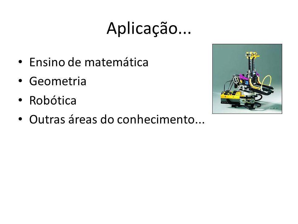 Aplicação... Ensino de matemática Geometria Robótica Outras áreas do conhecimento...