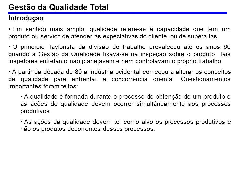 O termo Gestão da Qualidade Total – TQM (total quality management) refere- se a uma busca pela qualidade, que deve envolver todos na organização.