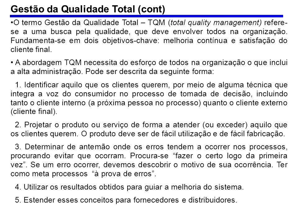 Exemplo (cont.): nota-se que se ações de qualidade forem tomadas sobre os 3 primeiros fornecedores, elimina-se 80% dos defeitos.