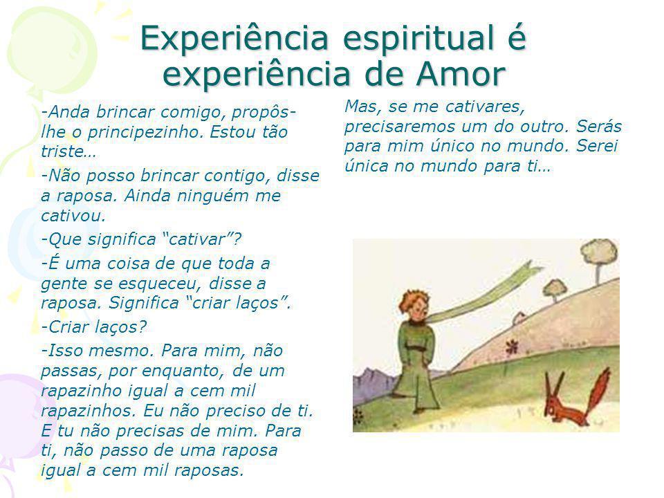 Experiência espiritual é experiência de Amor -Anda brincar comigo, propôs- lhe o principezinho.