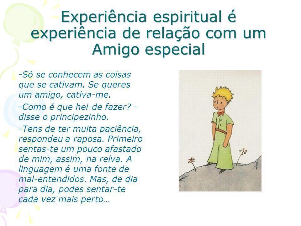 Experiência espiritual é experiência de relação com um Amigo especial -Só se conhecem as coisas que se cativam.