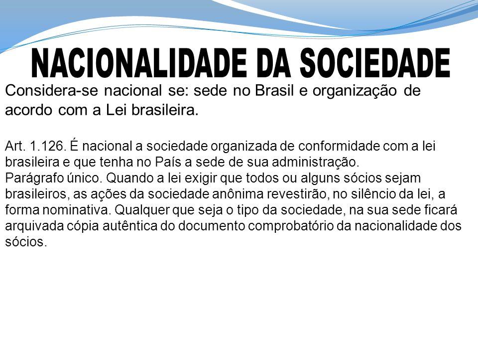 Considera-se nacional se: sede no Brasil e organização de acordo com a Lei brasileira.